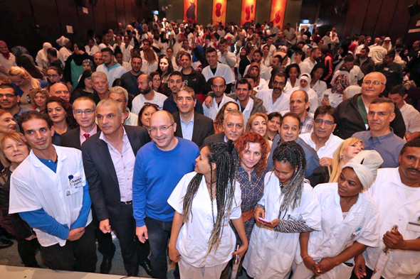 500 עובדי קבלן נקלטו להעסקה ישירה בבית החולים שיבא , צילום: אורן כהן, דוברות ההסתדרות
