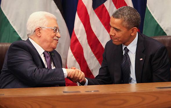 """נשיא ארה""""ב היוצא ברק אובמה ויו""""ר הרשות הפלסטינית אבו מאזן, צילום: אם סי טי"""