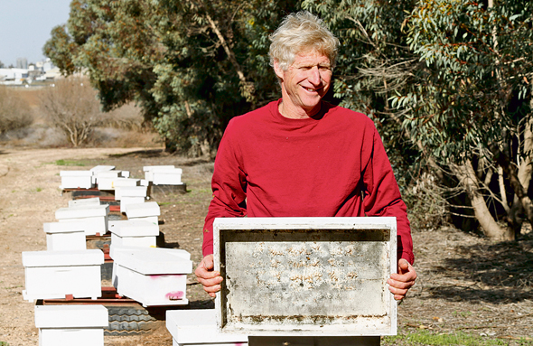 """הדבוראי בועז כנות על רקע כוורות במושב אביגדור. פרג'ון: """"קק""""ל ומתכנני הנוף צריכים להוריד מהרפרטואר כל צמח שאינו בעל צוף"""""""