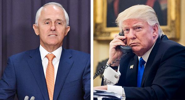 """מימין נשיא ארה""""ב דונלד טראמפ וראש ממשלת אוסטרליה מלקולם טרנבול, צילום: אי פי איי"""