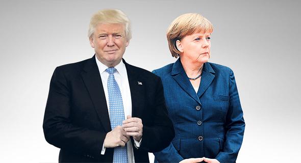 """מימין קנצלרית גרמניה אגלה מרקל ונשיא ארה""""ב דונלד טראמפ, צילום: Sipa USA, רויטרס"""