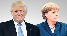 """קנצלרית גרמניה אנגלה מרקל ונשיא ארה""""ב דונלד טראמפ, צילום: Sipa USA, רויטרס"""