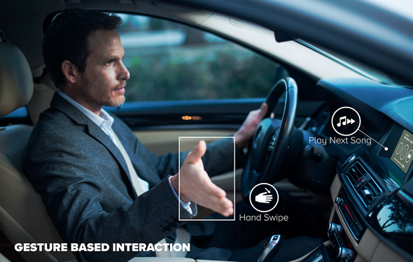 הטכנולוגיה של אייסייט מאפשרת לנהל את מערכת הבידור בעזרת מחוות ידיים