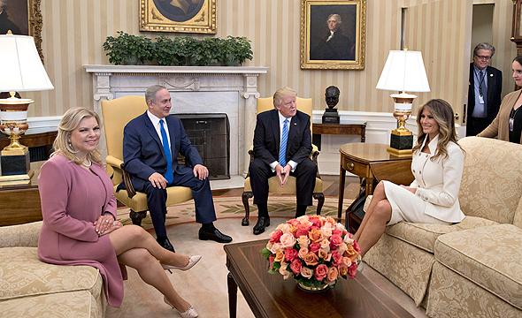 דונלד ו מלניה טראמפ עם בנימין ו שרה נתניה בבית הלבן 15.2.17, צילום: אם סי טי