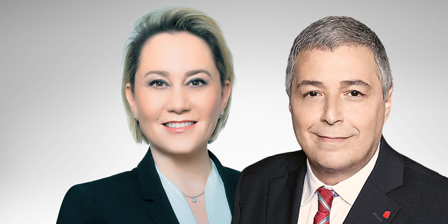 """מנכ""""ל הפועלים אריק פינטו ומנכ""""לית דיסקונט לילך אשר-טופילסקי, צילום: רמי זרנגר"""