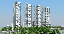 הדמיית הפרויקט. 3 מגדלי מגורים ומגדל למשרדים