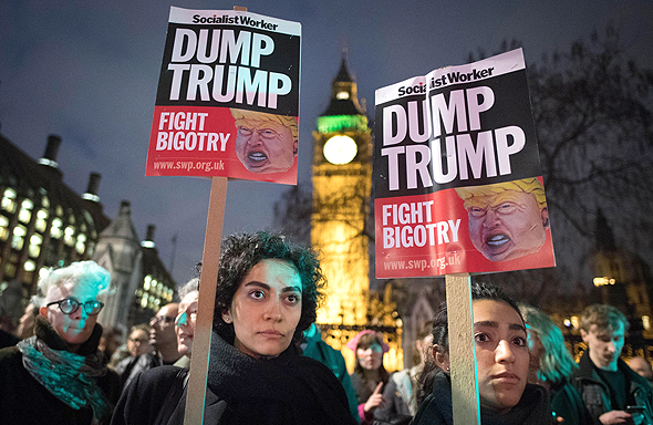 הפגנות הפגנה נגד דונלד טראמפ ב לונדון 21.2.17, צילום: אם סי טי