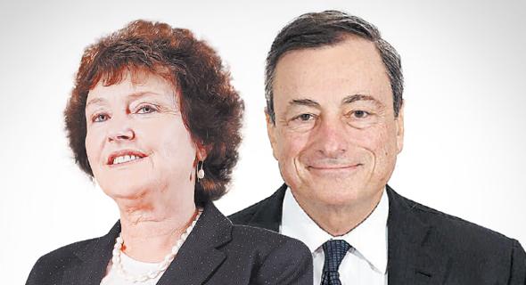 מימין נשיא הבנק המרכזי האירופי מריו דראגי ו נגידת בנק ישראל קרנית פלוג, צילום: אס.טי.אר, עמית שעל