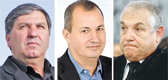 """מימין: השופט בדימוס ספי אלון, המנכ""""ל המיועד של קק""""ל אמנון בן עמי ויו""""ר קק""""ל דני עטר"""