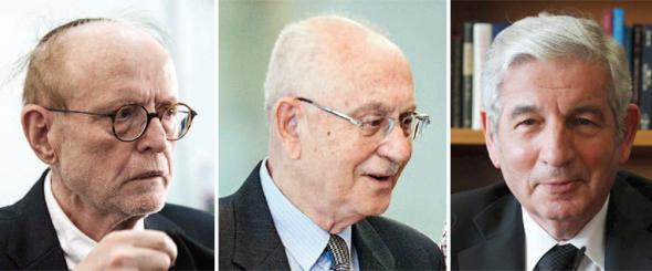 """החונכים המקצועיים (מימין): עו""""ד דוד ליבאי ושופט העליון אליעזר גולדברג, שאצלם התמחתה הורוויץ, ועו""""ד יעקב וינרוט, שבמשרדו עבדה כעשור"""