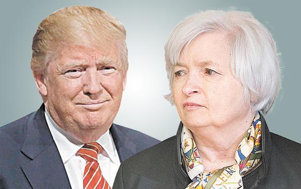 """מימין הנשיא דונלד טראמפ ו ג'נט ילן יו""""ר הפד, צילומים: רוייטרס, אי.פי"""