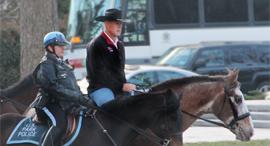 רייאן זינקה מגיע ליומו הראשון לעבודה על סוס
