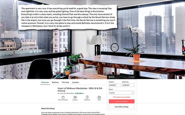 מודעה airbnb טראמפ טאואר ניו יורק, צילום מסך: airbnb