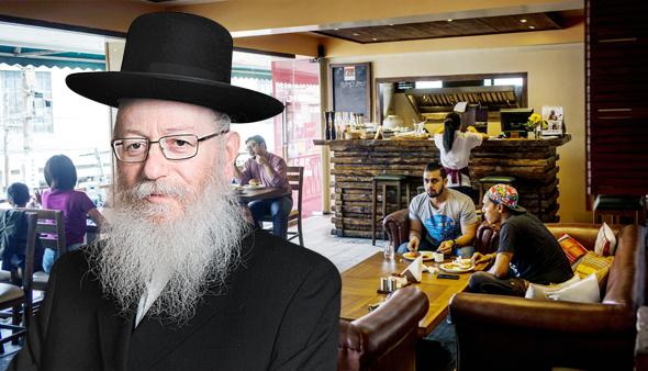 """שר הבריאות יעקב ליצמן על רקע מסעדה בארה""""ב, צילום: בלומברג, עמית שעל"""