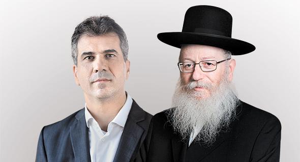 שר הבריאות יעקב ליצמן ושר הכלכלה אלי כהן, צילום: דוברות המפלגה כולנו, עמית שעל