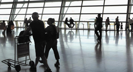 travelers at Ben Gurion Airport. Photo: Amit Shaal