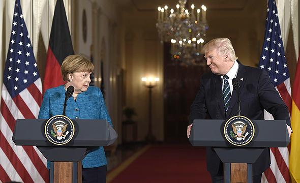 מפגש בין דונלד טראמפ ל אנגלה מרקל 17.3.17, צילום: איי אף פי