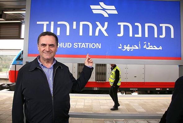 ישראל כץ קו הרכבת עכו כרמיאל תחנת אחיהוד, צילום: משרד התחבורה