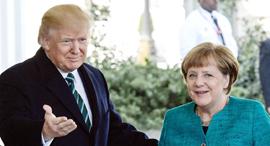 אנגלה מרקל עם דונלד טראמפ ביום שישי בוושינגטון, צילום: אי פי איי