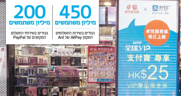 מודעת פרסומת לשירותים הפיננסיים של אנט בהונג קונג. לקנות הכל בסלולרי, צילום: בלומברג