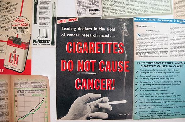 מודעה של חברת סיגריות שמכחישה את הקשר בינן לבין סרטן. הדרך שבה תעשיית הטבק נאבקה במחקרים על הקשר בין עישון לסרטן הולידה אינספור חיקויים, ותחום שלם שחוקר איך מייצרים בּוּרוּת באופן מכוון
