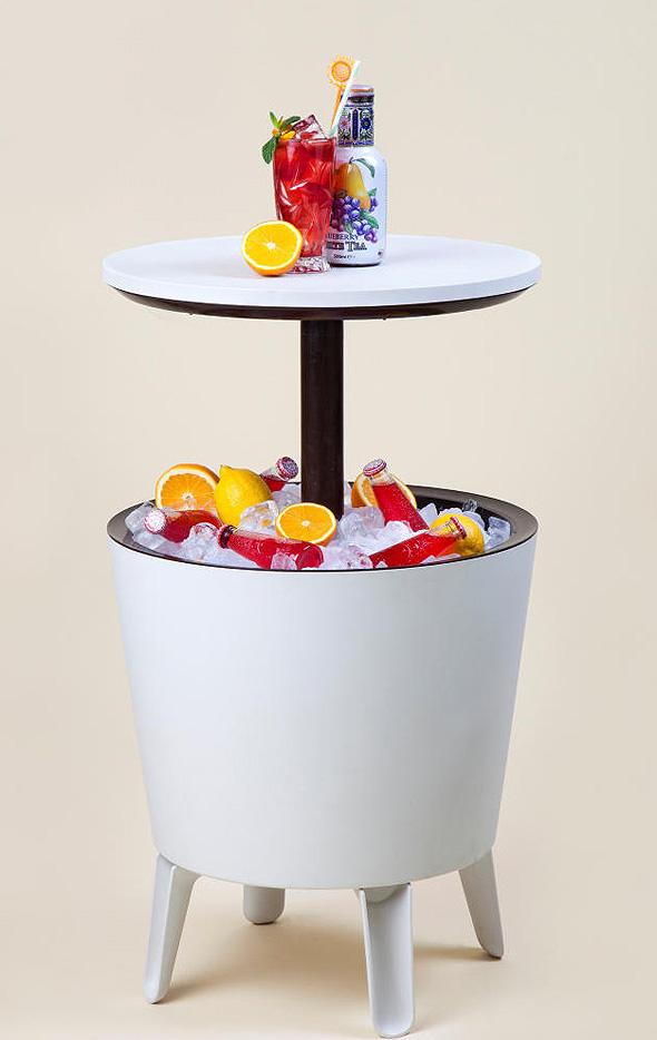 """מתקן לקירור משקאות שהוא גם שולחן, צילום: יח""""צ"""