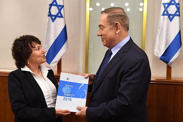 """ראש הממשלה בנימין נתניהו ו נגידת בנק ישראל קרנית פלוג דו""""ח בנק ישראל, צילום: קובי גדעון לע""""מ"""