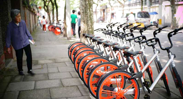 Mobike bikes in China. Photo: tech.sina