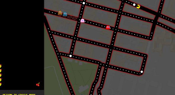 גוגל מפות 1 באפריל פאקמן, צילום: גוגל מפות