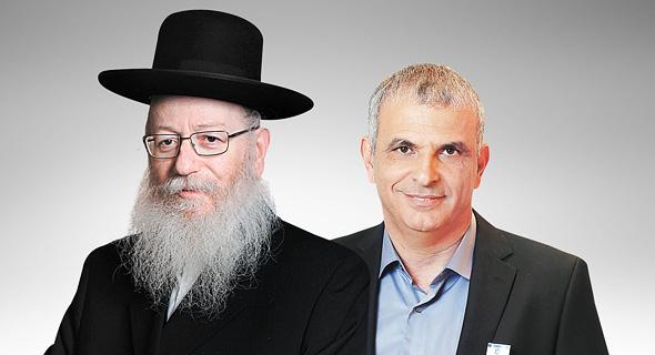 מימין שר האוצר משה כחלון ושר הבריאות יעקב ליצמן, צילום: אלעד גרשגורן, עמית שעל
