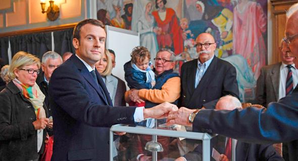 בחירות לנשיאות ב צרפת עמנואל מקרון 23.4.2017, צילום: איי אף פי