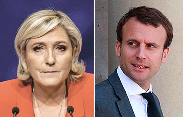 המתמודדים בסיבוב השני בבחירות בצרפת עמנואל מקרון ומרין לה פן