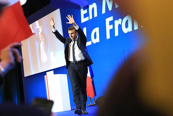 בחירות ב צרפת עמנואל מאקרון עמנואל מקרון לאחר הניצחון, צילום: אם סי טי