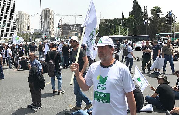 הפגנה חיפה כימיקלים צומת עזריאלי 2, צילום: אמיר זיו