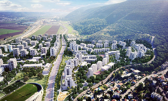 """הדמיית השכונה החדשה שעתידה לקום על שטח המפעל, הדמייה: אבירם אדריכלים בע""""מ"""