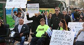 הפגנת הנכים בתל אביב בחודש שעבר, צילום: מוטי קמחי