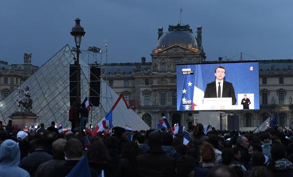 עמנואל מקרון נאום ניצחון בחירות 2017 לנשיאות מוזיאון הלובר צרפת, צילום: אם סי טי