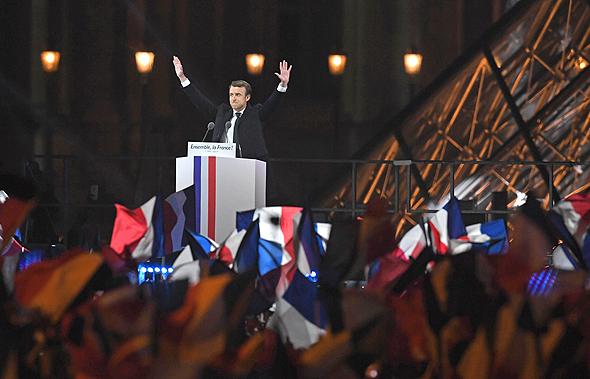 עמנואל מקרון נאום ניצחון בחירות לנשיאות צרפת 2017 מוזיאון הלובר, צילום: גטי אימג'ס