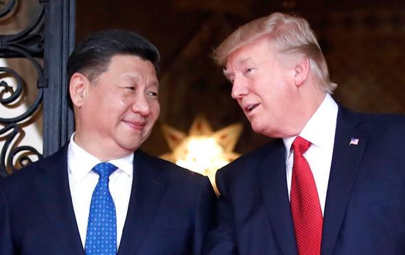 """דונלד טראמפ נשיא ארה""""ב ו שי ג'ינפינג נשיא סין, צילום: איי פי"""