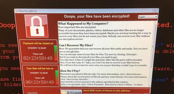 נוזקת הכופר Wannacry, שפגעה במאות אלפי מחשבים בעולם וגם בישראל
