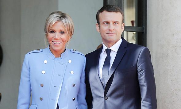 נשיא צרפת עמנואל מקרון ואשתו בריג'יט, צילום: גטי אימג'ס