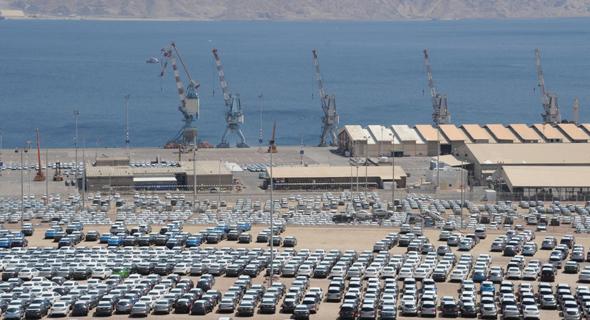 מכוניות בנמל אילת. ירידה של מעל 25% השנה