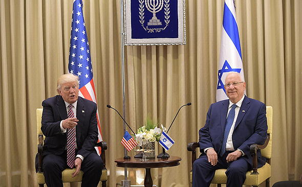 "הנשיא ראובן רובי ריבלין ו נשיא ארה""ב דונלד טראמפ ביקור בישראל מאי 2017, צילום: איי אף פי"