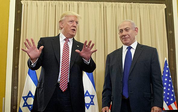 בנימין נתניהו ו דונלד טראמפ ביקור ב ישראל מאי 2017, צילום: איי פי