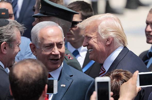 """ראש הממשלה בנימין נתניהו ו נשיא ארה""""ב דונלד טראמפ ביקור ב ישראל מאי 2017, צילום: אי פי איי"""