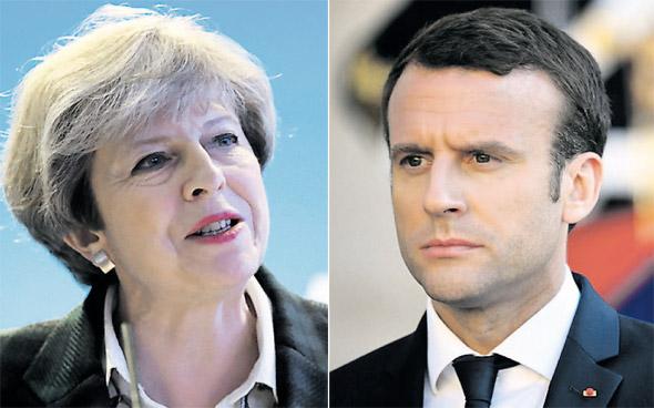 נשיא צרפת עמנואל מקרון ו ראש ממשלת בריטניה תרזה מיי, צילומים: אם סי טי , רויטרס