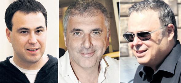 מימין: דיוויד פדרמן, ליאוניד נבזלין ועדי פדרמן. מניות בשווי מוערך של 230 מיליון שקל נמכרו בחזרה תמורת שני שקלים