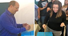 שלי יחימוביץ' ו אבי ניסנקורן מצביעים בחירות הסתדרות חדש, צילומים: אביב גוטר, ליאור גוטמן