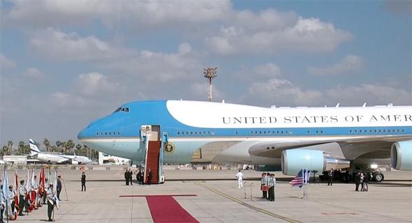 """נשיא ארה""""ב דונלד טראמפ מסיים את ביקורו ב ישראל נתב""""ג אייר פורס 1, צילום מסך: Ynet"""