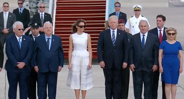 """נשיא ארה""""ב דונלד טראמפ מסיים את ביקורו ב ישראל נתב""""ג 3, צילום מסך: Ynet"""
